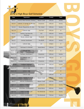 Boys Golf Schedule 2019